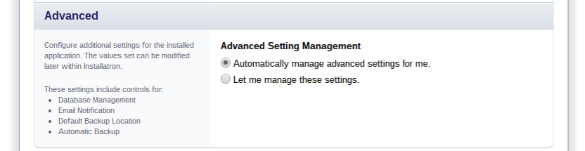 Database Management: Kies hier voor 'Automatically manage the database settings for me'.