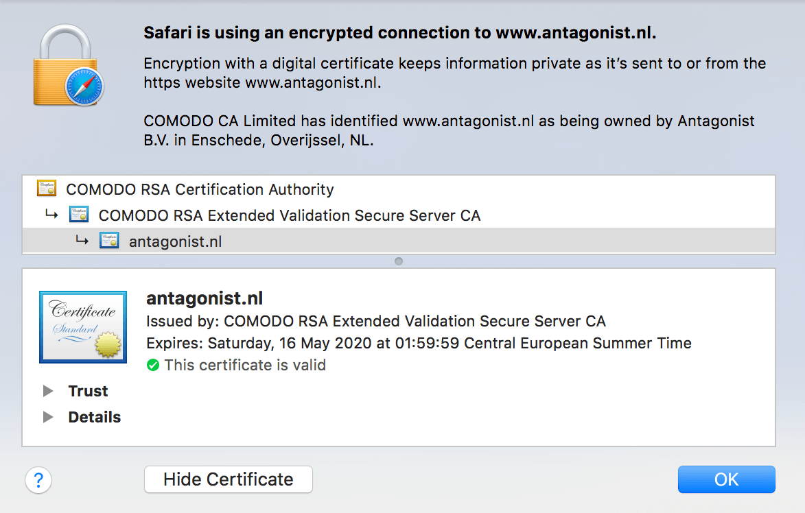 SSL-certificaat in Safari