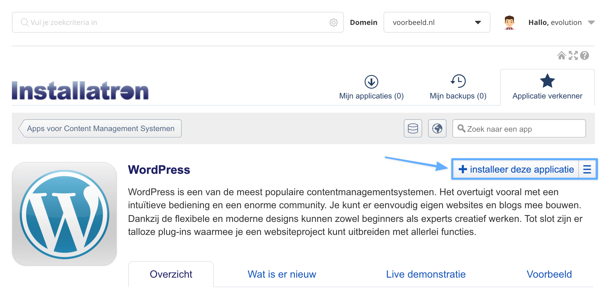 WordPress installeren knop